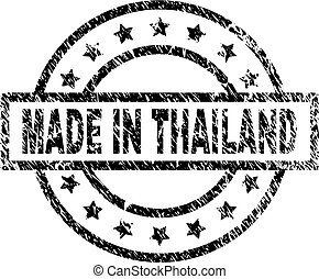 Scratched Textured MADE IN THAILAND Stamp Seal - MADE IN...