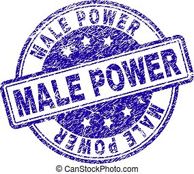 Scratched Textured MALE POWER Stamp Seal - MALE POWER stamp...