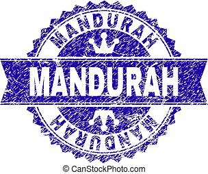 Scratched Textured MANDURAH Stamp Seal with Ribbon