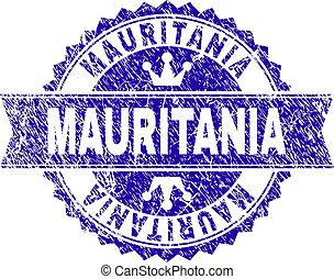 Scratched Textured MAURITANIA Stamp Seal with Ribbon
