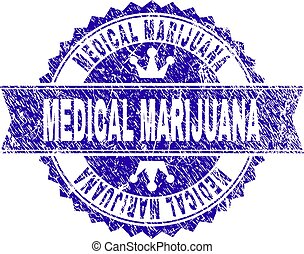 Scratched Textured MEDICAL MARIJUANA Stamp Seal with Ribbon