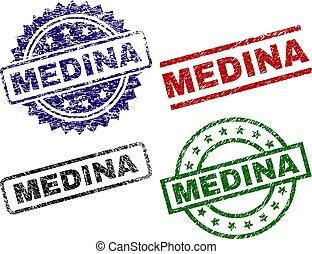 Scratched Textured MEDINA Seal Stamps - MEDINA seal prints...