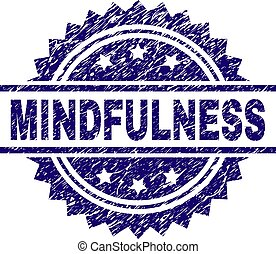 MINDFULNESS stamp seal watermark with distress style. Blue vector rubber print of MINDFULNESS label with unclean texture.