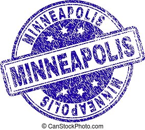 Scratched Textured MINNEAPOLIS Stamp Seal - MINNEAPOLIS...