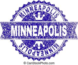 Scratched Textured MINNEAPOLIS Stamp Seal with Ribbon -...