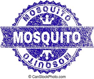 Scratched Textured MOSQUITO Stamp Seal with Ribbon