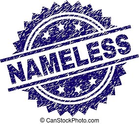 NAMELESS stamp seal watermark with distress style. Blue vector rubber print of NAMELESS caption with dust texture.