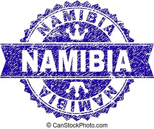 Scratched Textured NAMIBIA Stamp Seal with Ribbon