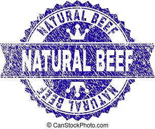 Scratched Textured NATURAL BEEF Stamp Seal with Ribbon