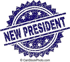 Scratched Textured NEW PRESIDENT Stamp Seal