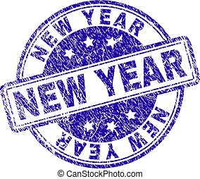 Scratched Textured NEW YEAR Stamp Seal