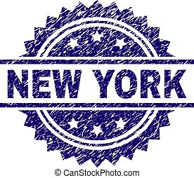 Scratched Textured NEW YORK Stamp Seal