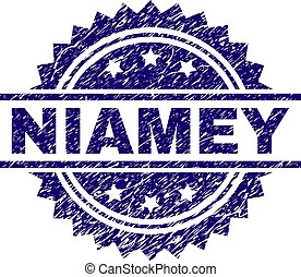 Scratched Textured NIAMEY Stamp Seal - NIAMEY stamp seal...
