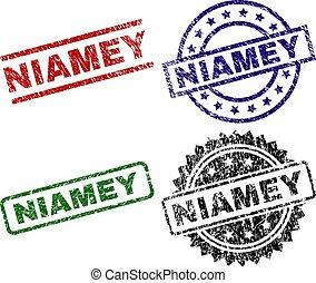 Scratched Textured NIAMEY Stamp Seals - NIAMEY seal prints...