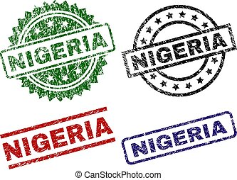 NIGERIA seal prints with corroded surface. Black, green, red, blue vector rubber prints of NIGERIA title with corroded texture. Rubber seals with circle, rectangle, medallion shapes.