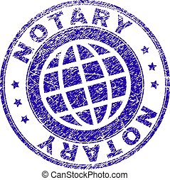 Scratched Textured NOTARY Stamp Seal - NOTARY stamp imprint...