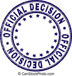 Scratched Textured OFFICIAL DECISION Round Stamp Seal