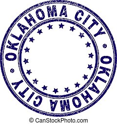Scratched Textured OKLAHOMA CITY Round Stamp Seal