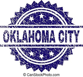Scratched Textured OKLAHOMA CITY Stamp Seal