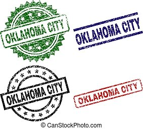 Scratched Textured OKLAHOMA CITY Stamp Seals