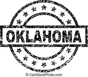 Scratched Textured OKLAHOMA Stamp Seal