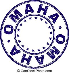 Scratched Textured OMAHA Round Stamp Seal - OMAHA stamp seal...