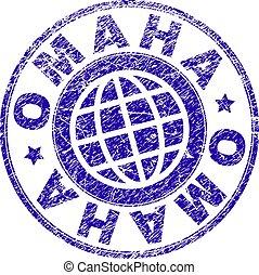 Scratched Textured OMAHA Stamp Seal - OMAHA stamp imprint...