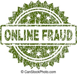 Scratched Textured ONLINE FRAUD Stamp Seal