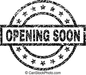 Scratched Textured OPENING SOON Stamp Seal - OPENING SOON...