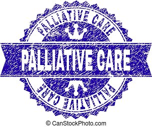 Scratched Textured PALLIATIVE CARE Stamp Seal with Ribbon