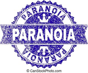 Scratched Textured PARANOIA Stamp Seal with Ribbon -...