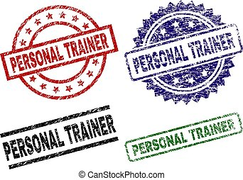 Scratched Textured PERSONAL TRAINER Stamp Seals