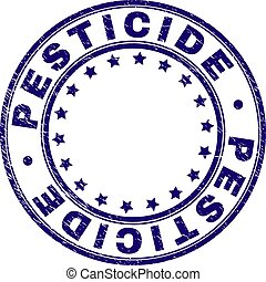 Scratched Textured PESTICIDE Round Stamp Seal - PESTICIDE...