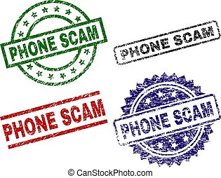 Scratched Textured PHONE SCAM Seal Stamps
