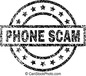 Scratched Textured PHONE SCAM Stamp Seal