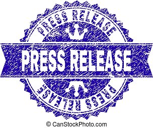 Scratched Textured PRESS RELEASE Stamp Seal with Ribbon