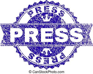 Scratched Textured PRESS Stamp Seal with Ribbon