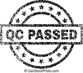 Scratched Textured QC PASSED Stamp Seal