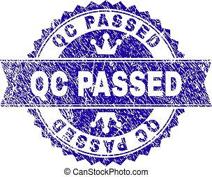 Scratched Textured QC PASSED Stamp Seal with Ribbon