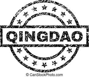 Scratched Textured QINGDAO Stamp Seal - QINGDAO stamp seal...