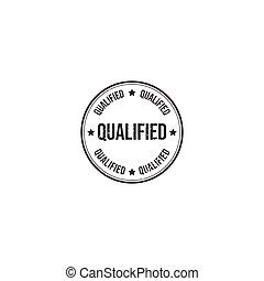 Qualified grunge rubber stamp logo