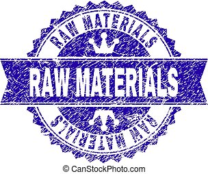 Scratched Textured RAW MATERIALS Stamp Seal with Ribbon - ...
