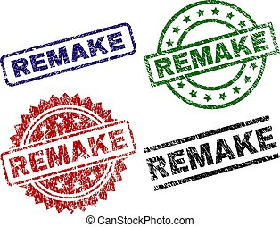 REMAKE seal prints with corroded style. Black, green, red, blue vector rubber prints of REMAKE text with corroded surface. Rubber seals with round, rectangle, medal shapes.