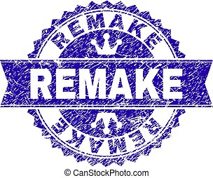 REMAKE rosette stamp watermark with grunge texture. Designed with round rosette, ribbon and small crowns. Blue vector rubber print of REMAKE tag with dust texture.