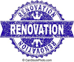 Scratched Textured RENOVATION Stamp Seal with Ribbon