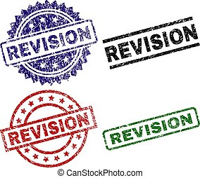REVISION seal prints with distress surface. Black, green, red, blue vector rubber prints of REVISION title with dust surface. Rubber seals with circle, rectangle, rosette shapes.