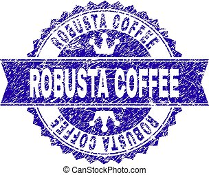 Scratched Textured ROBUSTA COFFEE Stamp Seal with Ribbon -...