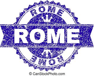 Scratched Textured ROME Stamp Seal with Ribbon