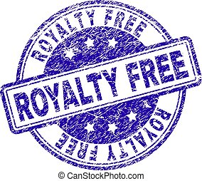 ROYALTY FREE stamp seal watermark with distress texture. Designed with rounded rectangles and circles. Blue vector rubber print of ROYALTY FREE title with unclean texture.