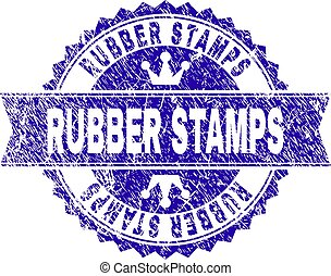 Scratched Textured RUBBER STAMPS Stamp Seal with Ribbon